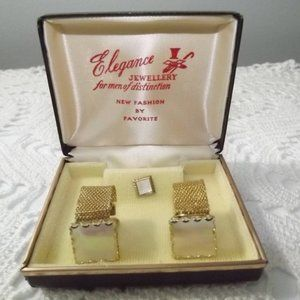Mother of Pearl Cuff Links and Tie Pin Set